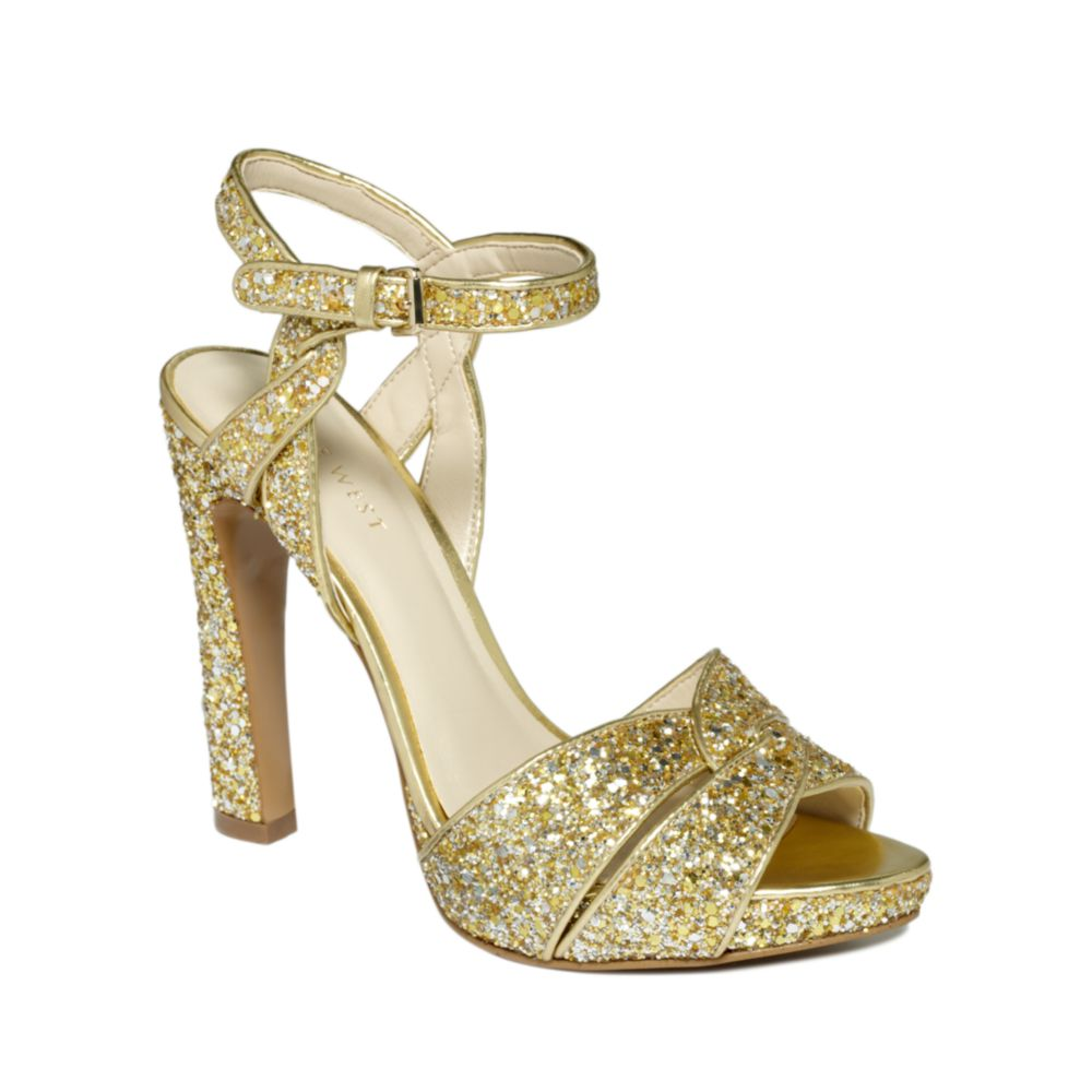 Nine West Hotlist Platform Sandals In Gold Gold Glitter Lyst