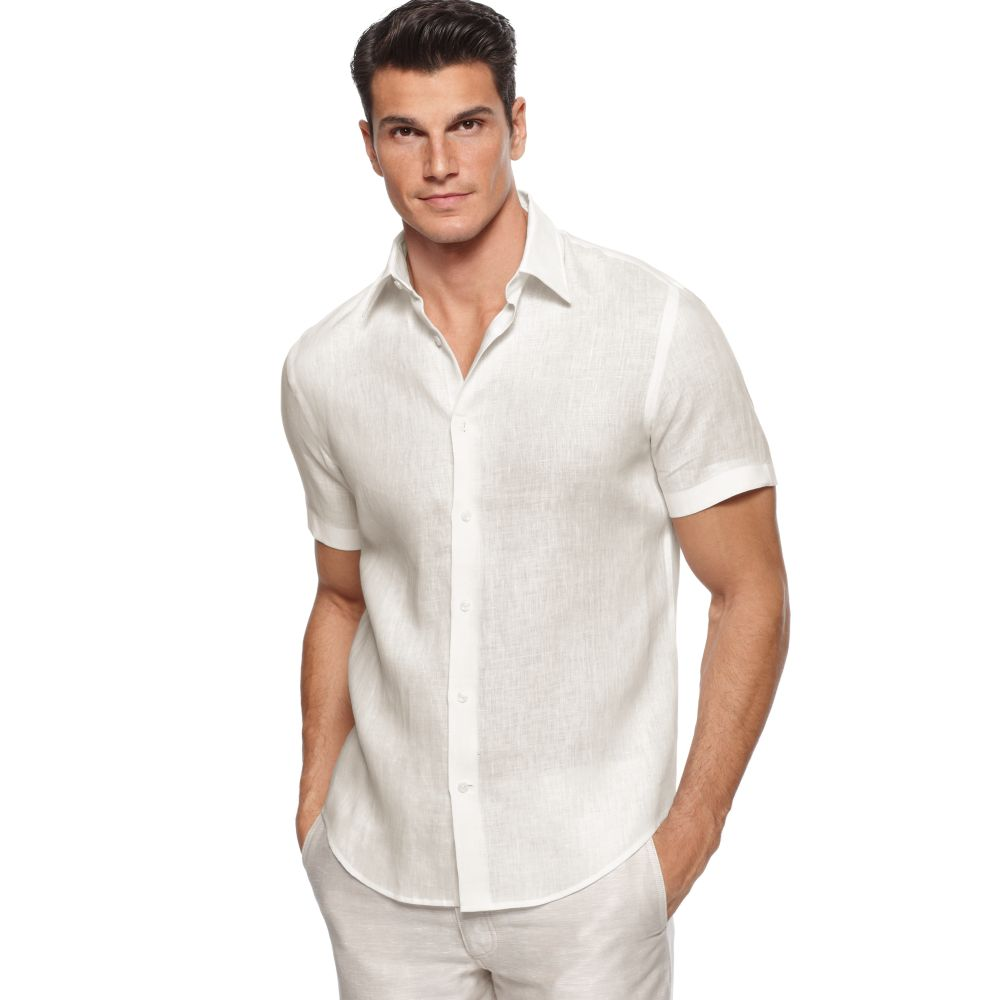 Perry ellis short sleeve linen shirt in natural for men lyst for Short sleeve linen shirt
