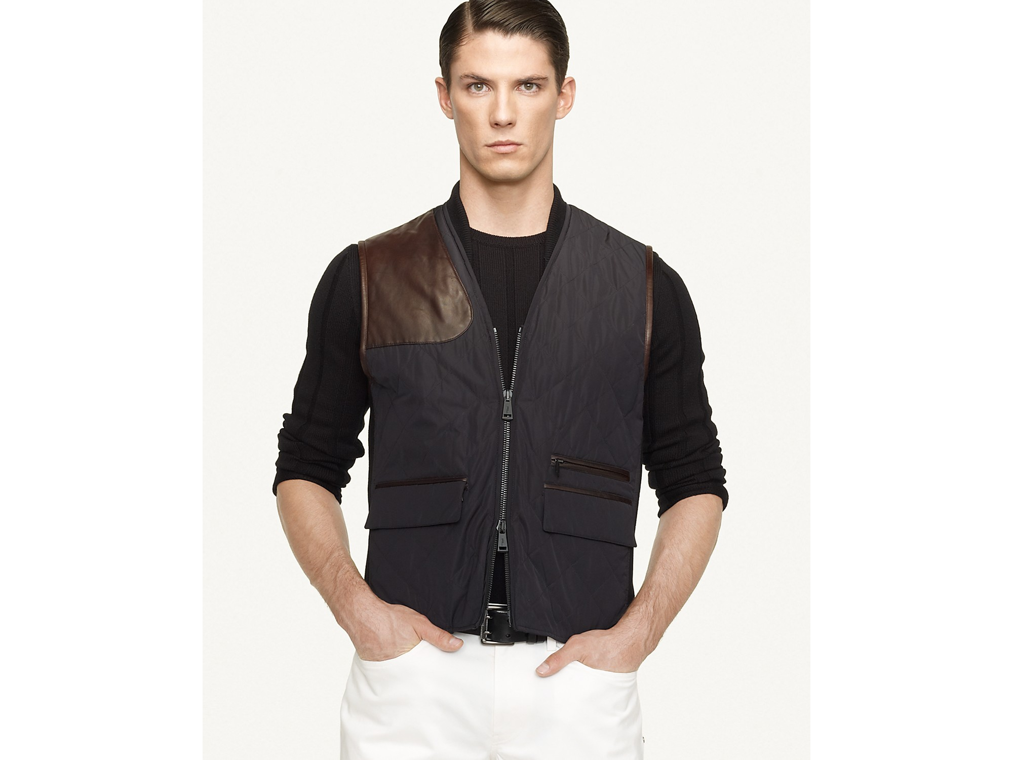 Lyst Ralph Lauren Black Label Quilted Microfiber Riding Vest In Black For Men