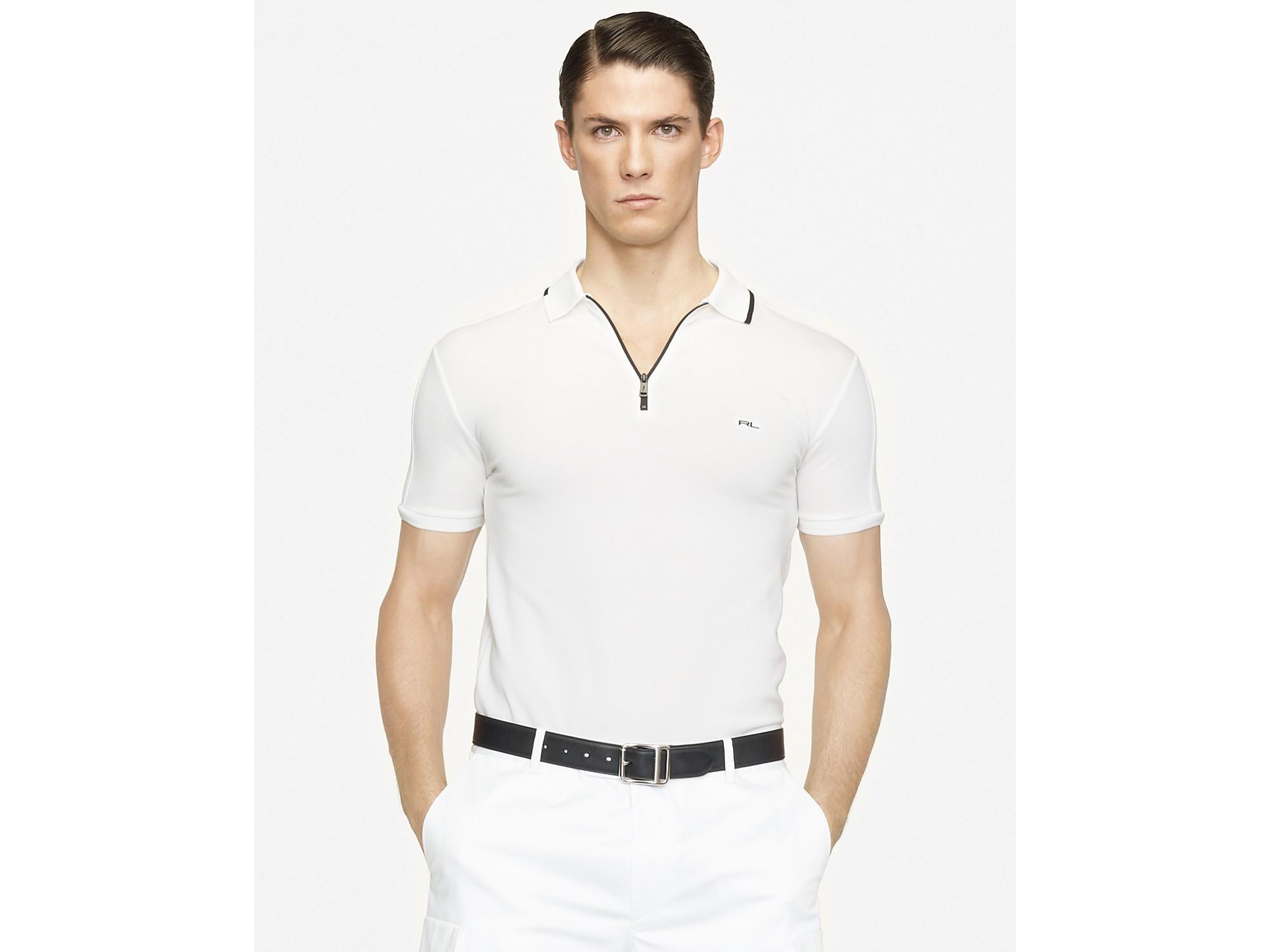 Ralph lauren black label Shortsleeved Mercerized Stretch Mesh Zipper Polo in White for Men (pure white polo black) | Lyst