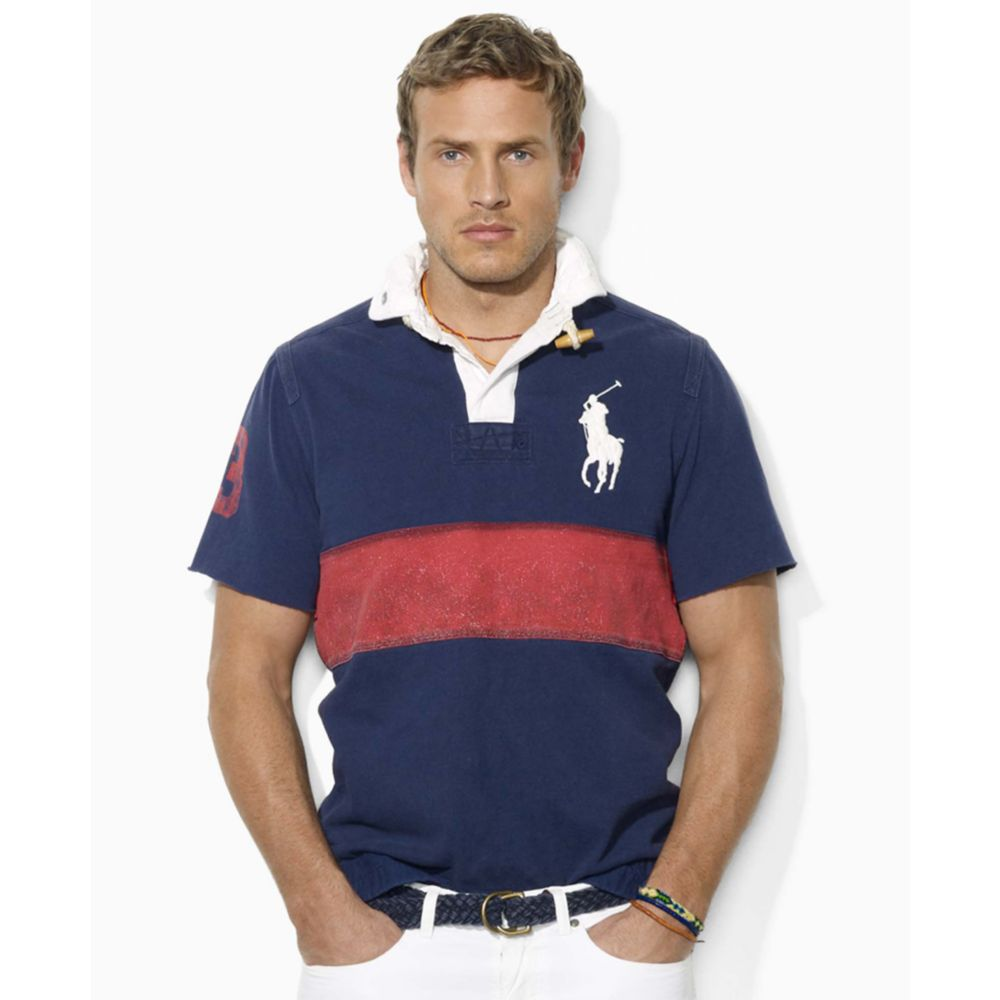 5b2da3cba ... switzerland lyst ralph lauren custom fit short sleeved pieced cotton  rugby 8663b 895df