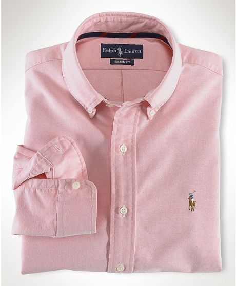 Polo ralph lauren core classic fit oxford shirt in pink for Pink oxford shirt men