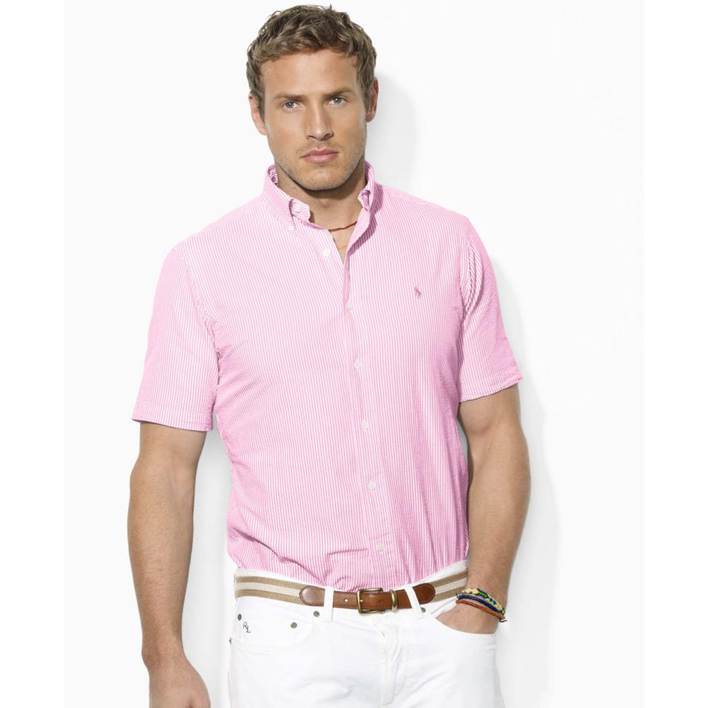 Lyst - Ralph Lauren Short Sleeve Striped Seersucker Cotton Shirt in ... 5656558372b2