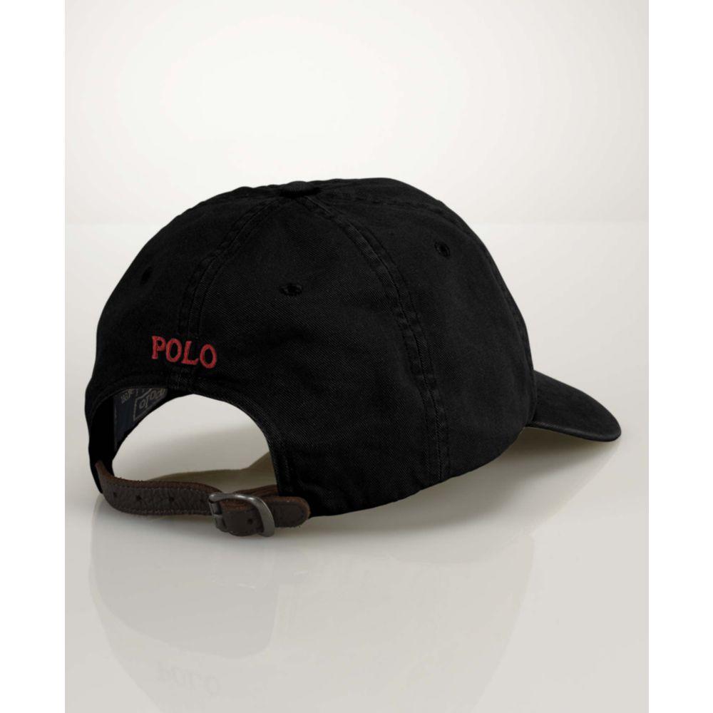 ralph lauren big and tall classic sport cap in black for. Black Bedroom Furniture Sets. Home Design Ideas