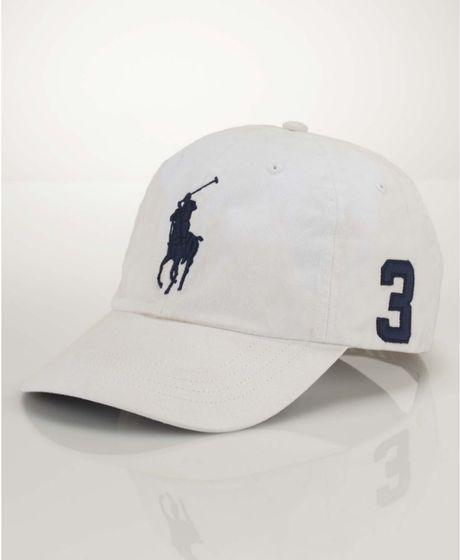 ralph lauren classic big pony sport cap in white for men. Black Bedroom Furniture Sets. Home Design Ideas