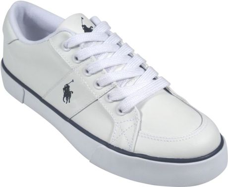 polo ralph harold leather sneakers in white for white navy lyst