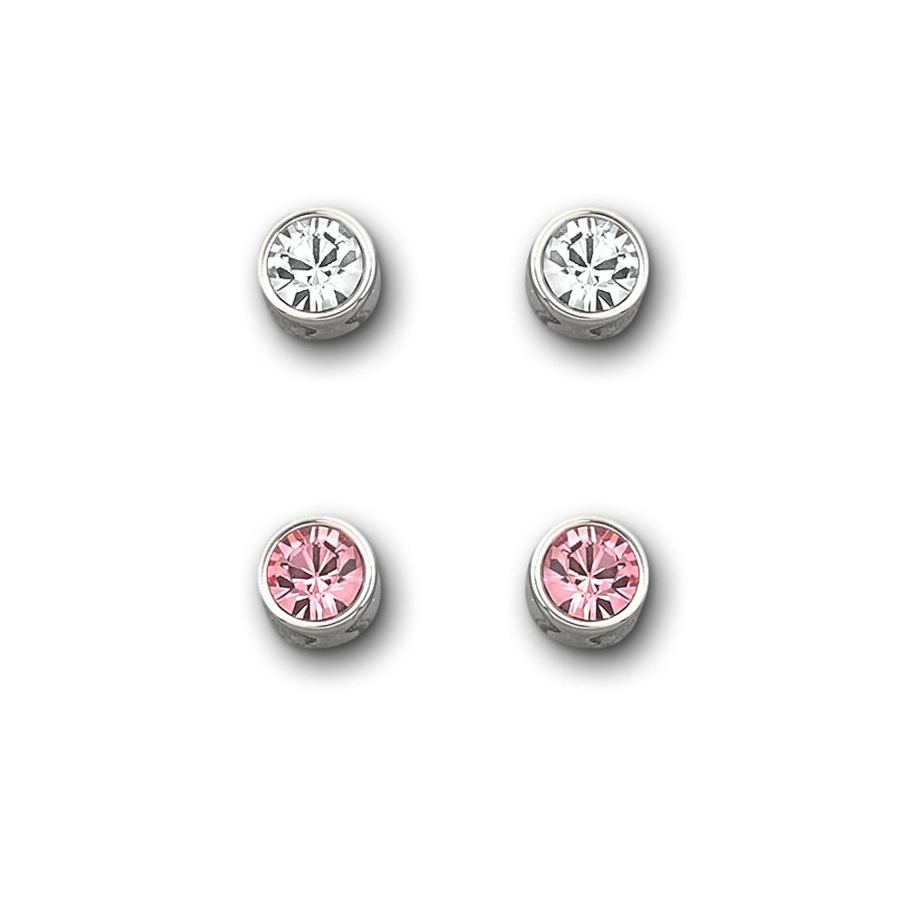 Lyst Swarovski Pink And Clear Crystal Stud Earring Set In