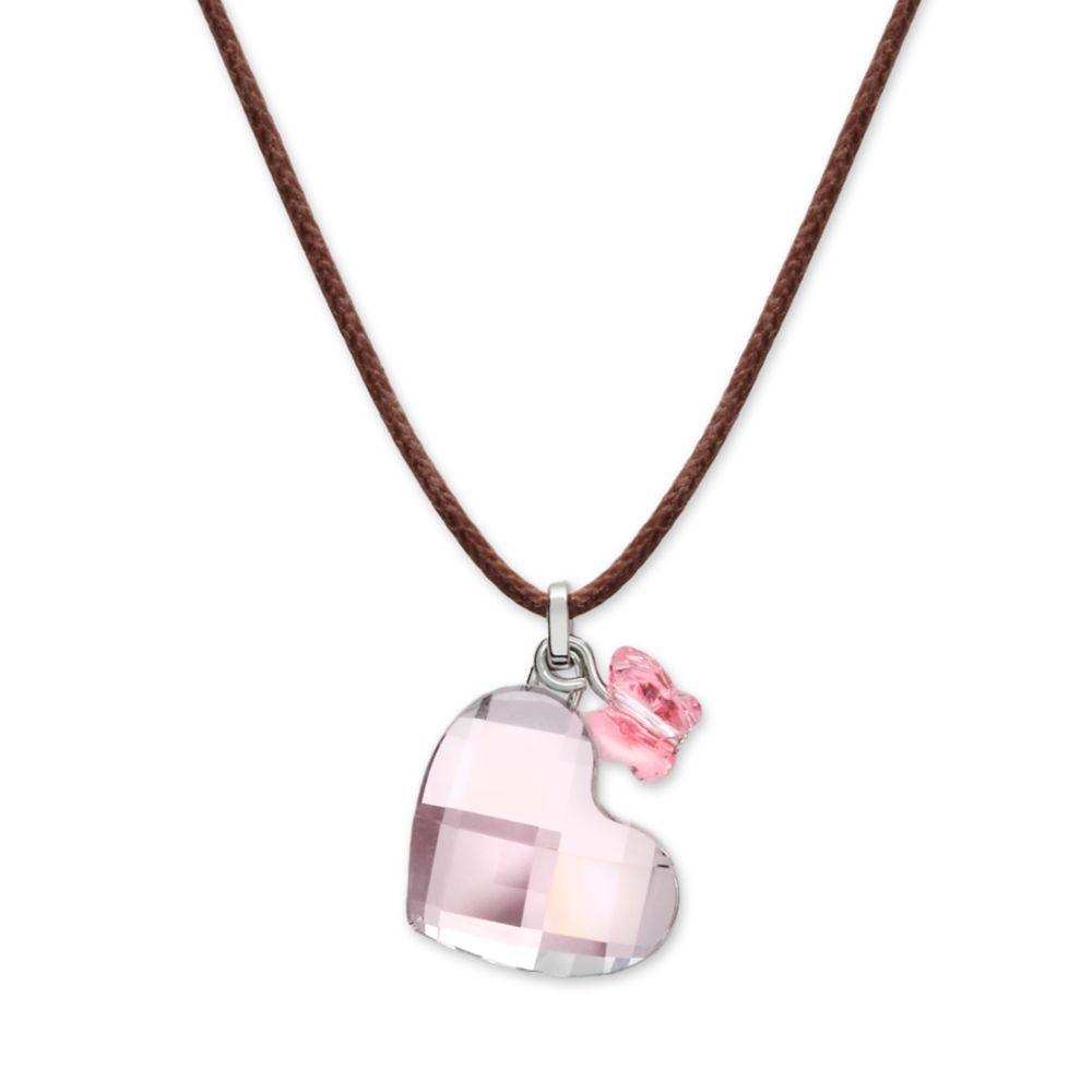 swarovski pink crystal heart pendant in pink lyst. Black Bedroom Furniture Sets. Home Design Ideas