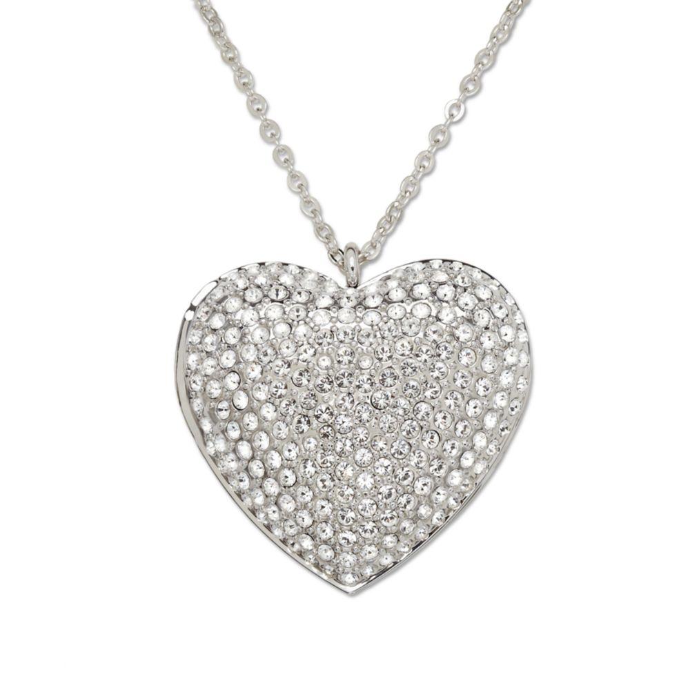 Lyst swarovski crystal pave heart locket pendant in metallic gallery mozeypictures Gallery