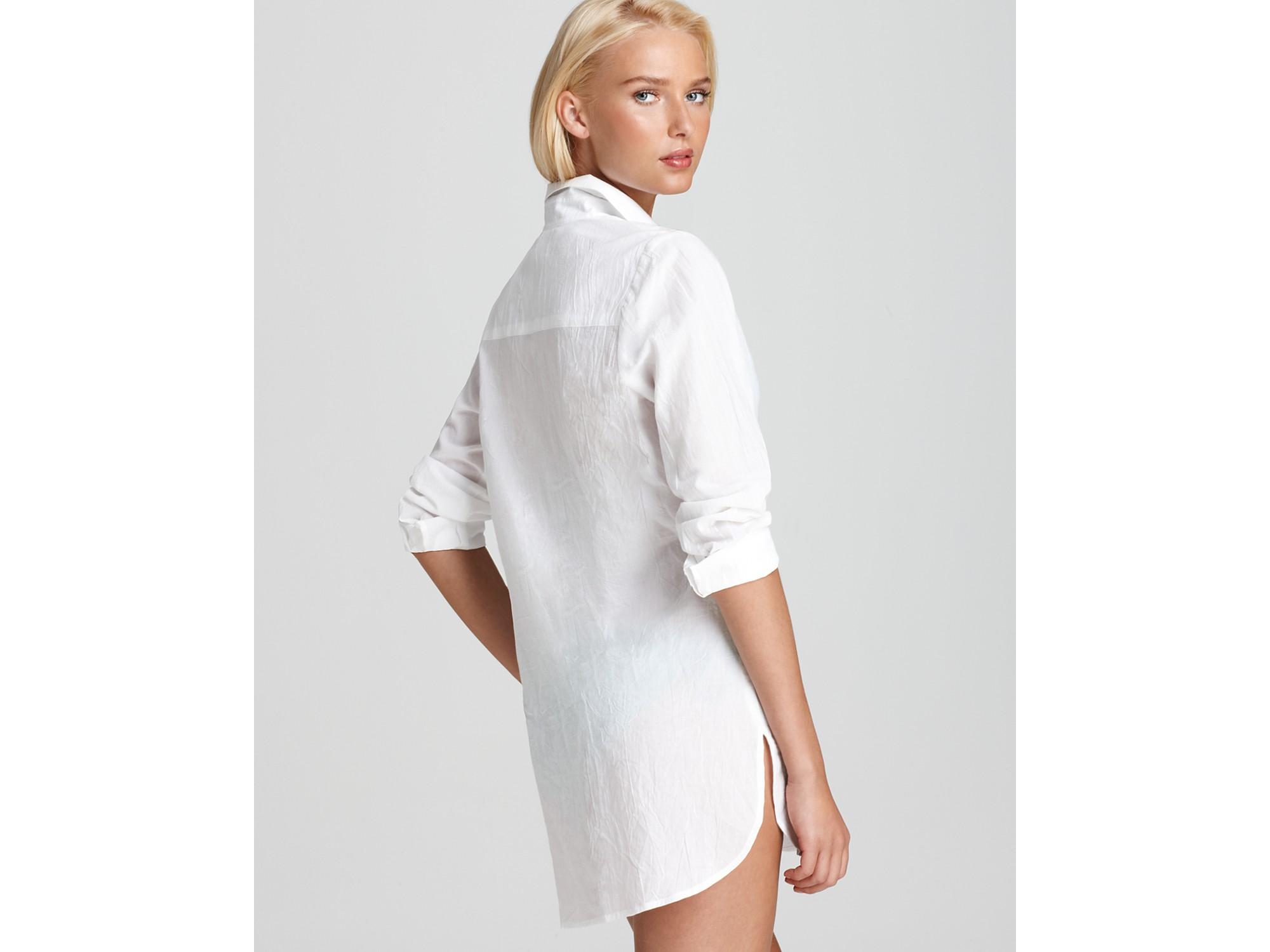 Tommy bahama Crinkle Cotton Boyfriend Shirt in White | Lyst