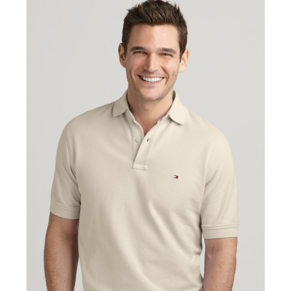 tommy hilfiger ivy solid polo shirt in beige for men alpaca lyst. Black Bedroom Furniture Sets. Home Design Ideas