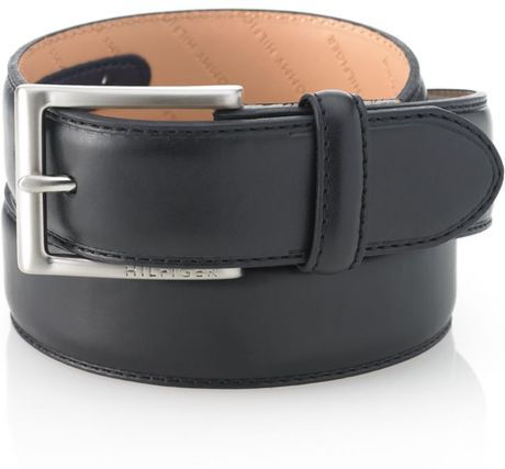 Tommy Hilfiger Stitched Dress Belt in Black for Men - Lyst