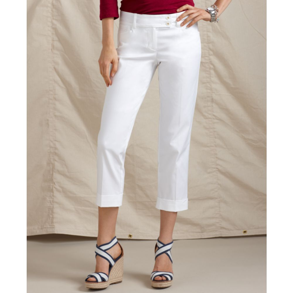 Popular NEW WOMEN39S TOMMY HILFIGER CROPPED CARGO PANTS 100 COTTON VARIETY