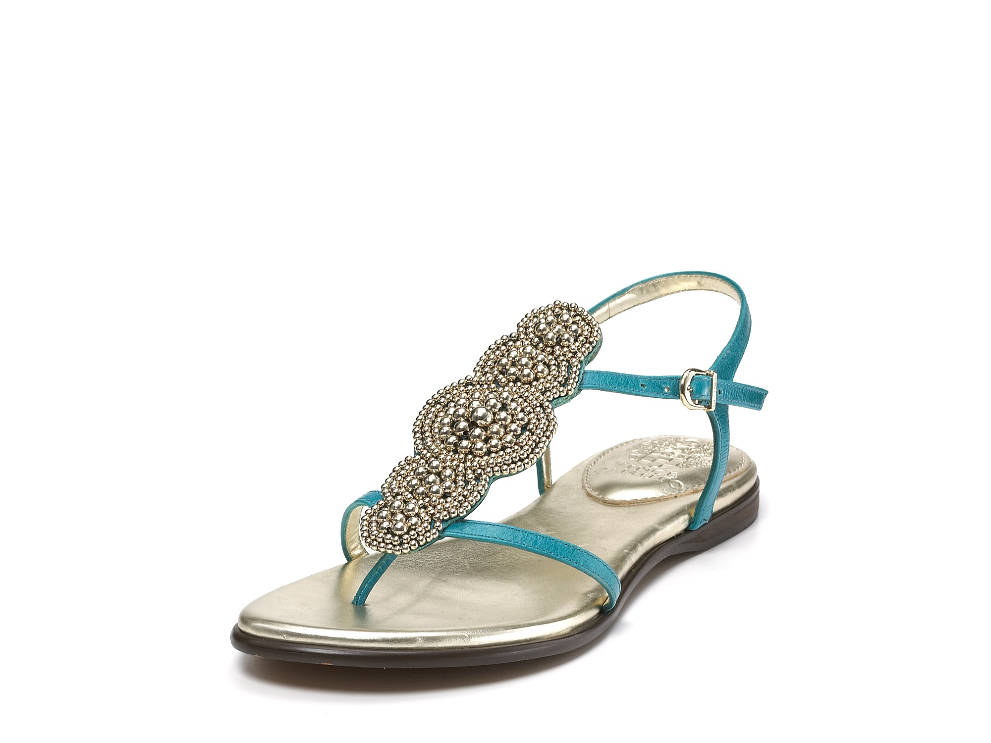 Vince Camuto Sandals Allik Beaded Flat Sandals In Blue Lyst