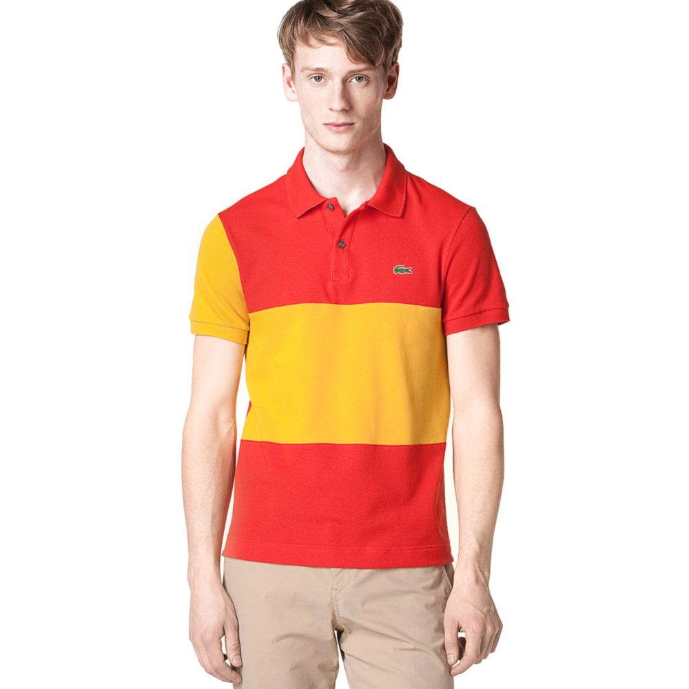 Lacoste spain flag pique polo shirt in yellow for men lyst for Spain polo shirt 2014
