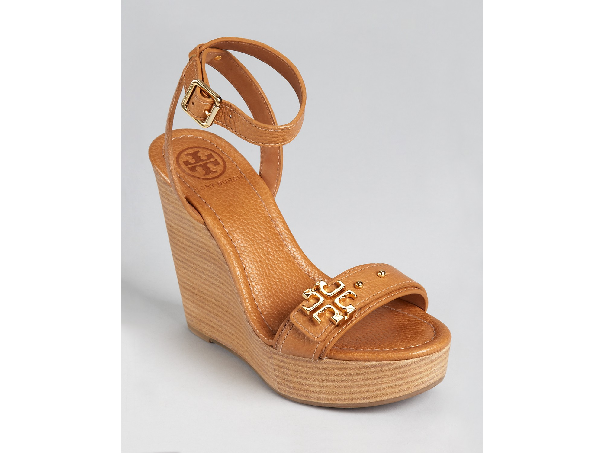 141ab233c994e Lyst - Tory Burch Sandals Elina Wedge in Black