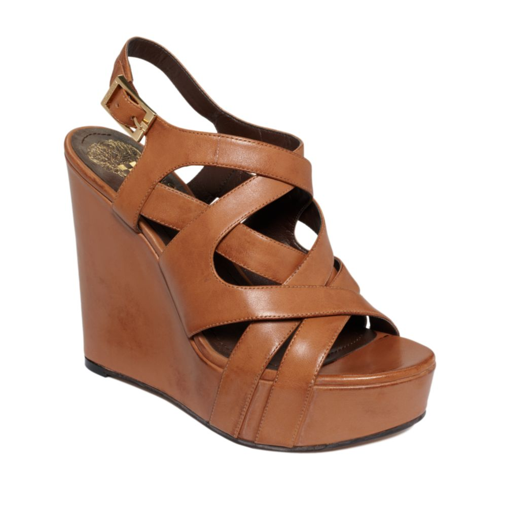 Lyst Vince Camuto Shivona Wedge Sandals In Brown