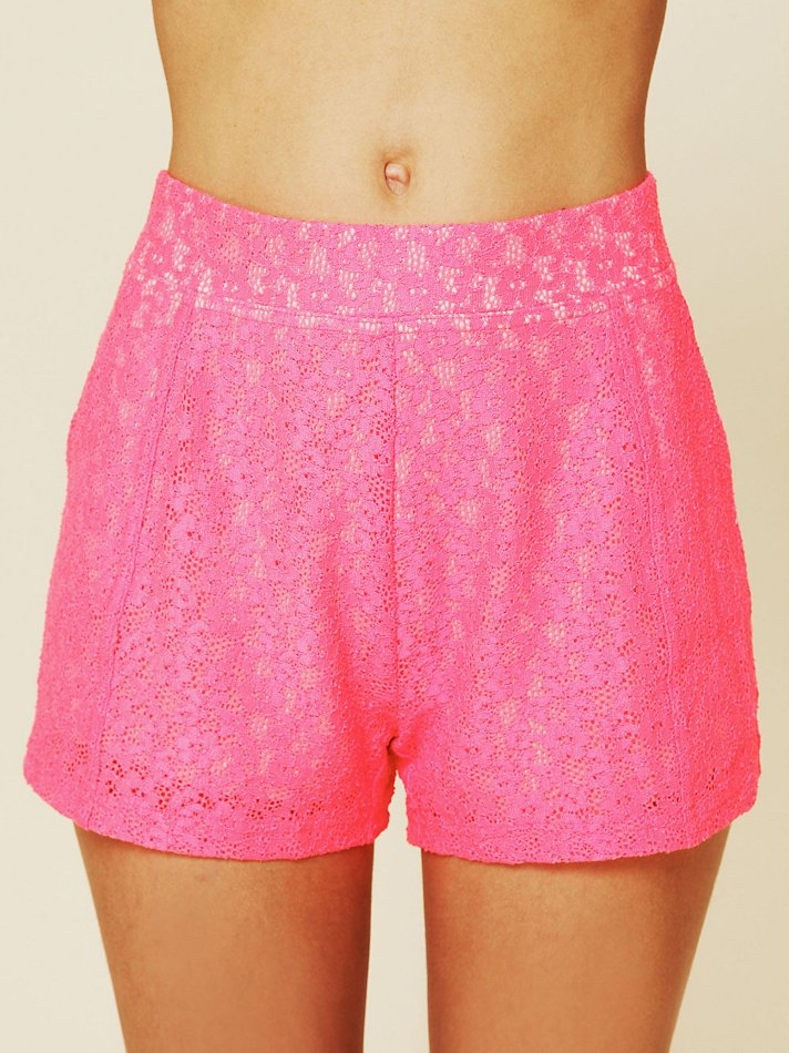 Free people Highwaisted Lace Shorts in Pink   Lyst