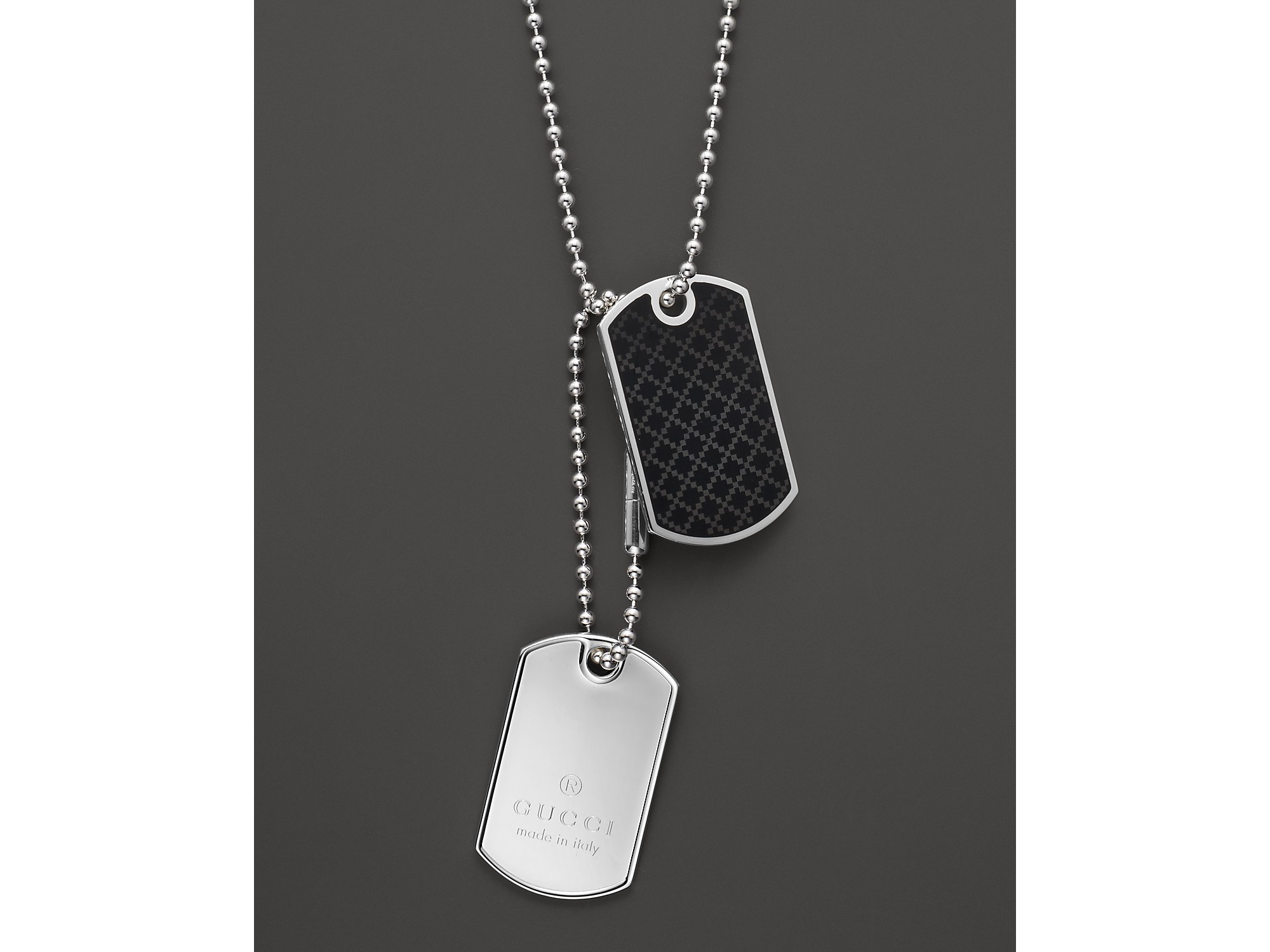 Gucci Dog Tag Necklace 236 in Black for Men - Lyst