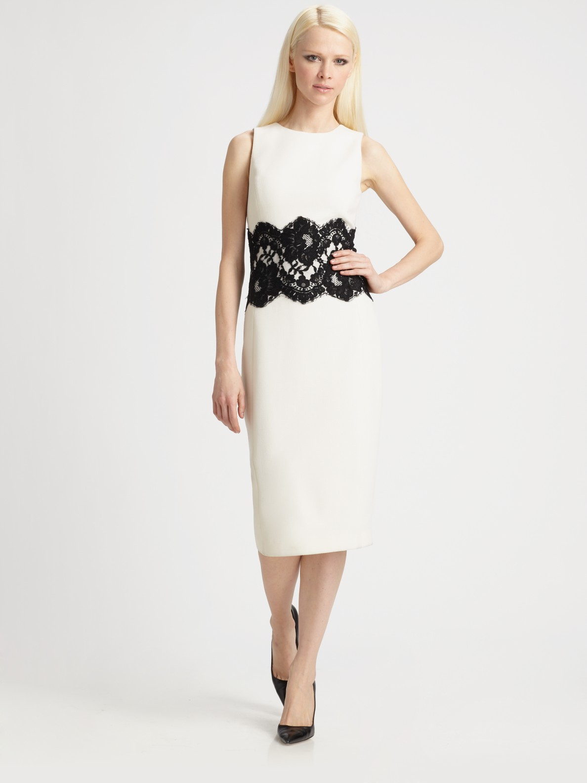 Lyst - Michael kors Wool Lace Waist Dress in White