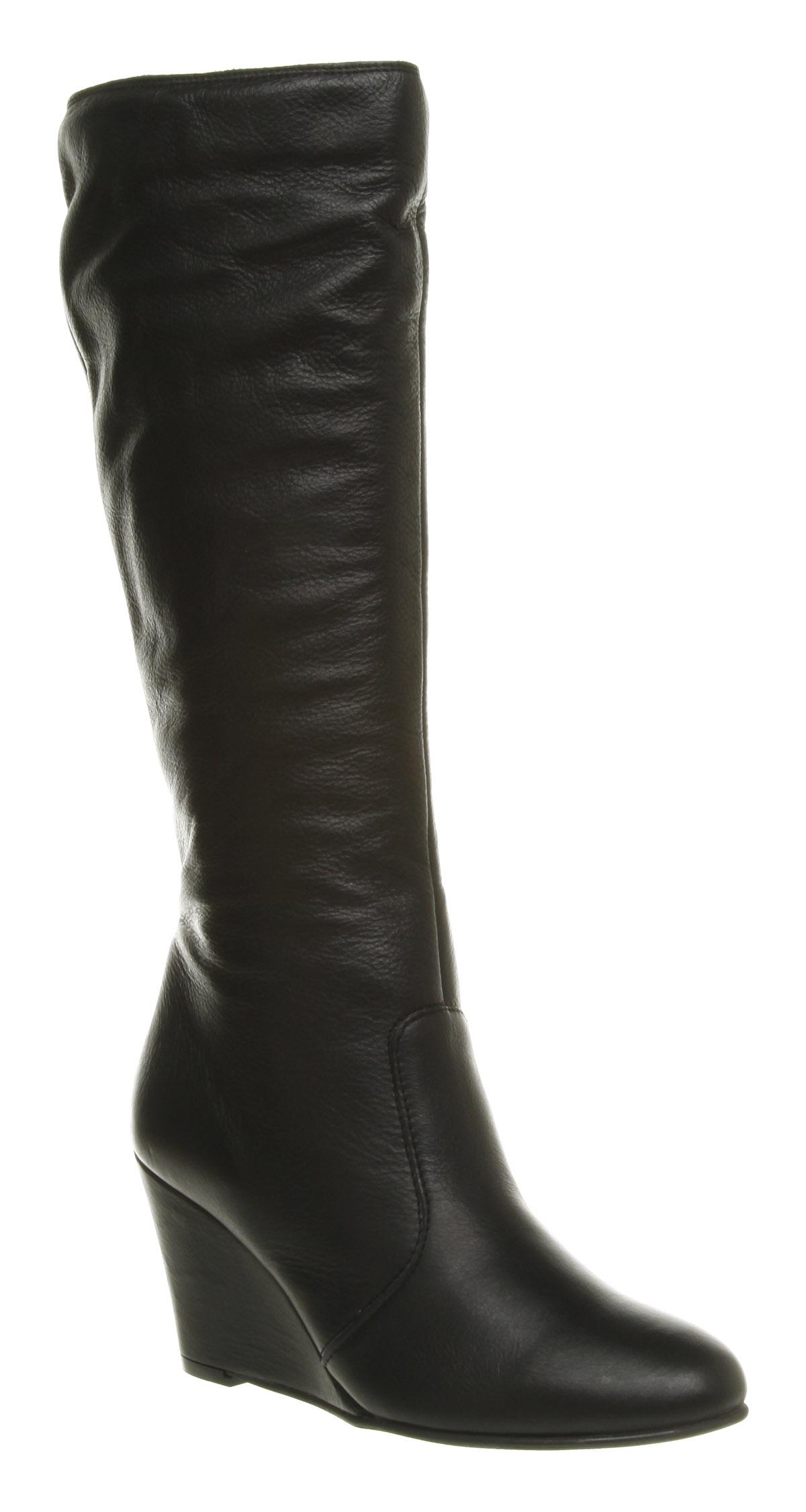 office jena plain zip wedge boot black leather in black lyst