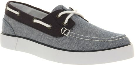 Ralph Lauren Lander Canvas Boat Shoe Blue Chambray in Gray for Men (blue) - Lyst