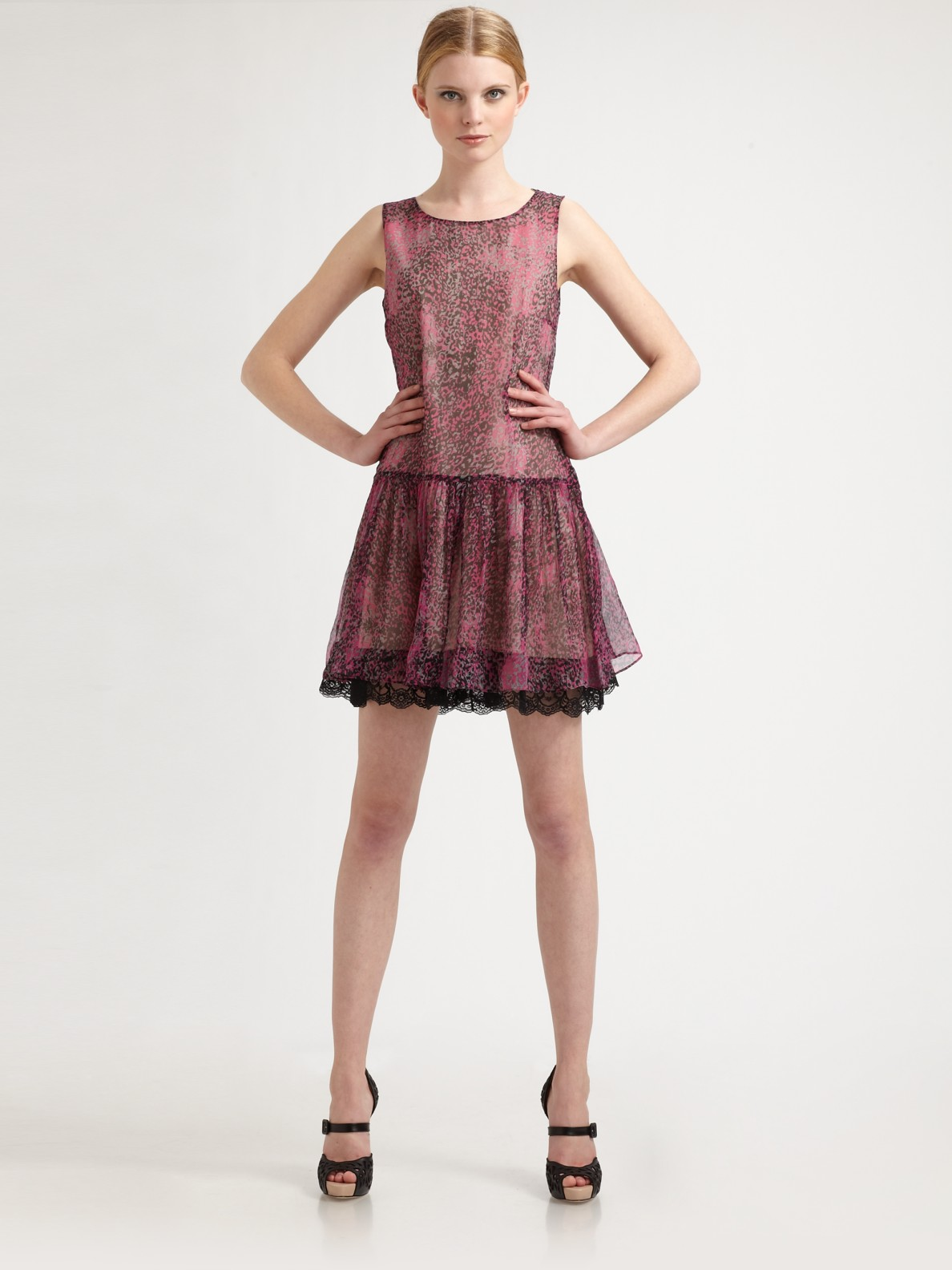 59f0dddb0307 RED Valentino Leopard Print Silk Dress in Pink - Lyst