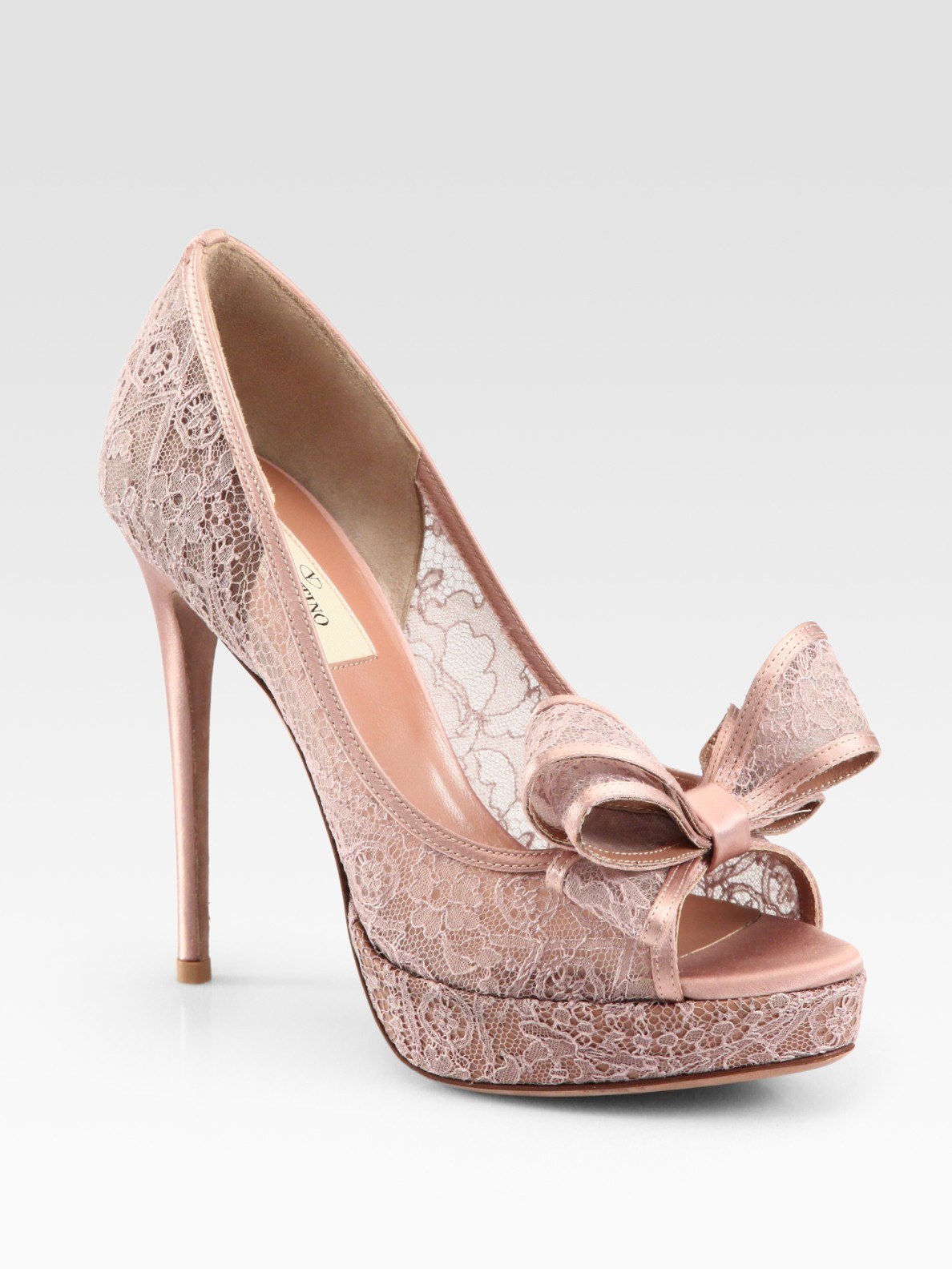 fc1a899443f Lyst - Valentino Lace Couture Bow Pumps in Pink