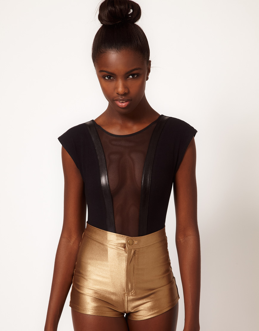 American apparel body with mesh panel in black lyst for American apparel mesh shirt
