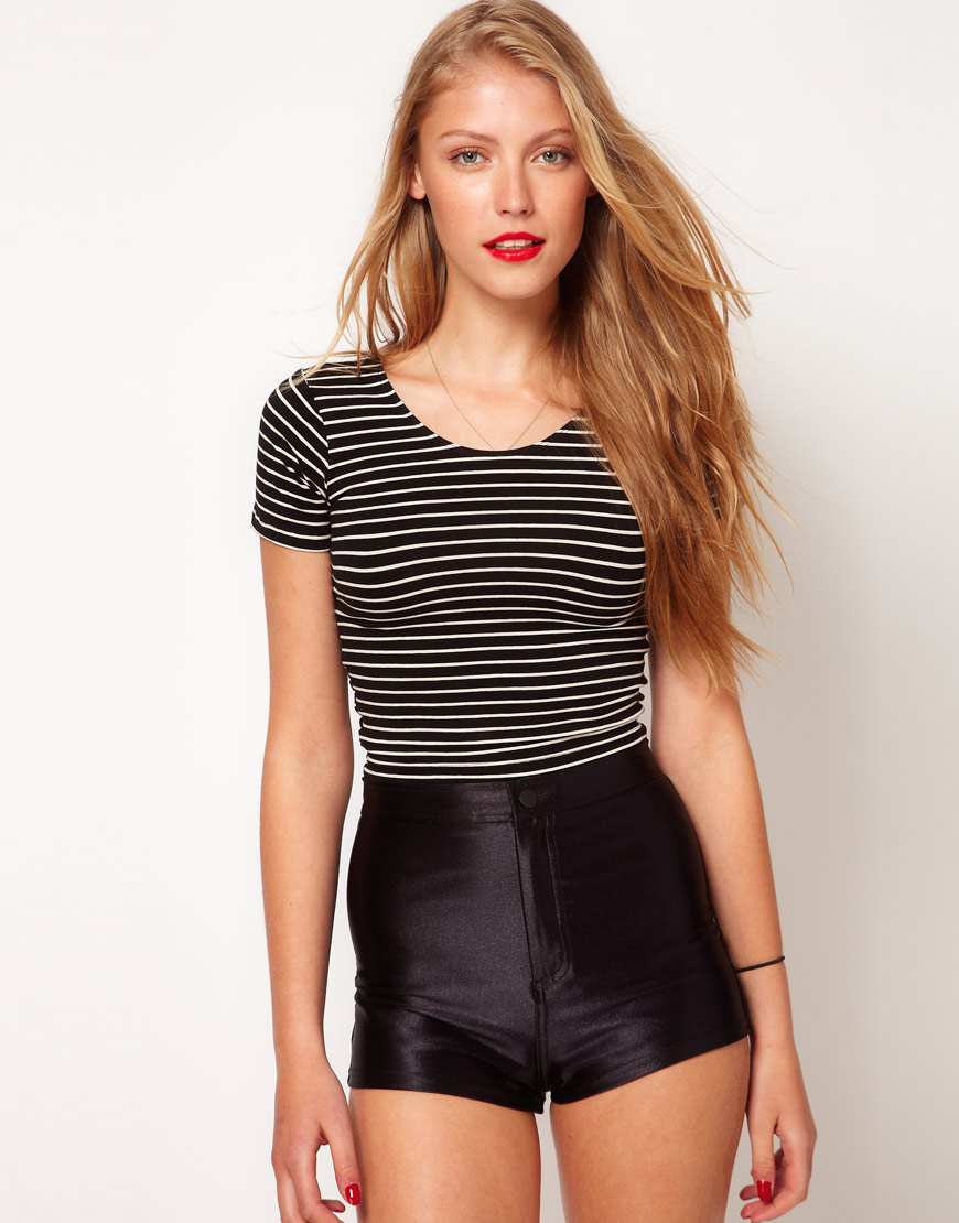 American Apparel American Apparel Stripe Cropped Tshirt In