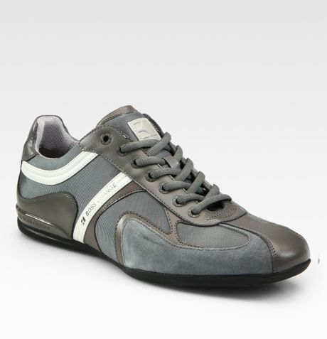 boss orange seamon laceup sneakers in gray for men grey. Black Bedroom Furniture Sets. Home Design Ideas