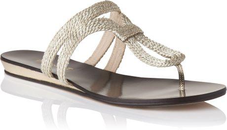 bennett Lk Bennett Evelyn Lurex Rope Wedge Sandals Soft Gold in ...