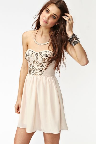 Nasty Gal Sweet Studs Dress in Beige (nude)