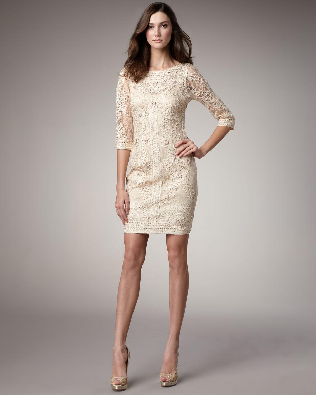 Sue wong Lace Floral-Applique Dress in Natural | Lyst