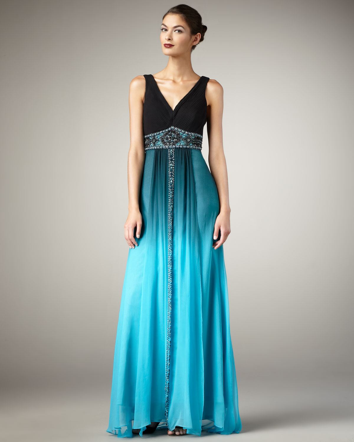 Sue Wong V Neck Ombre Gown In Black Turquoise O Black Lyst