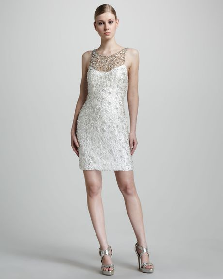 Theia Fully Beaded Cocktail Dress in White (ivory)