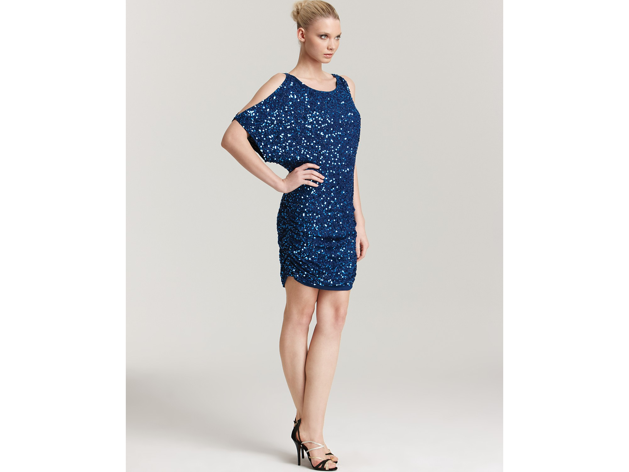 Aidan mattox Sequin Dress Cold Shoulder in Blue | Lyst