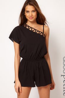 ASOS Collection Asos Petite Exclusive Cut Out Playsuit with One Shoulder - Lyst