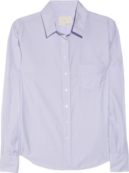 Boy By Band Of Outsiders Easy Checked Cottonpoplin Shirt in Purple (lilac)
