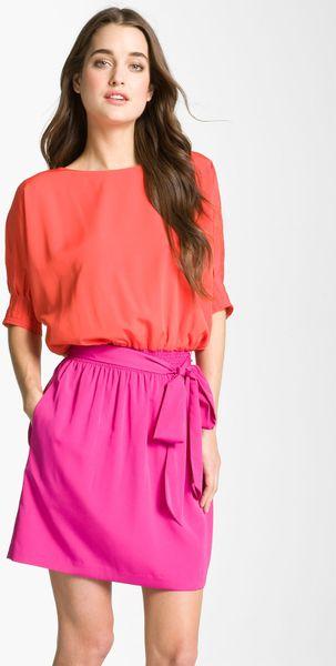Eliza J Colorblock Dolman Sleeve Crêpe De Chine Dress in Orange (orange/ magenta) - Lyst