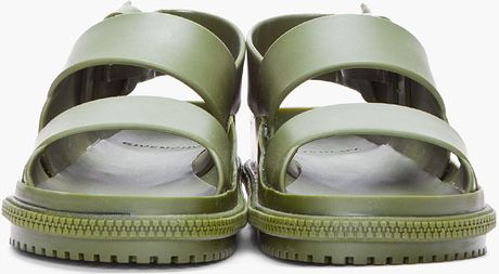Givenchy Olive Plastic Podium Sandals In Green For Men