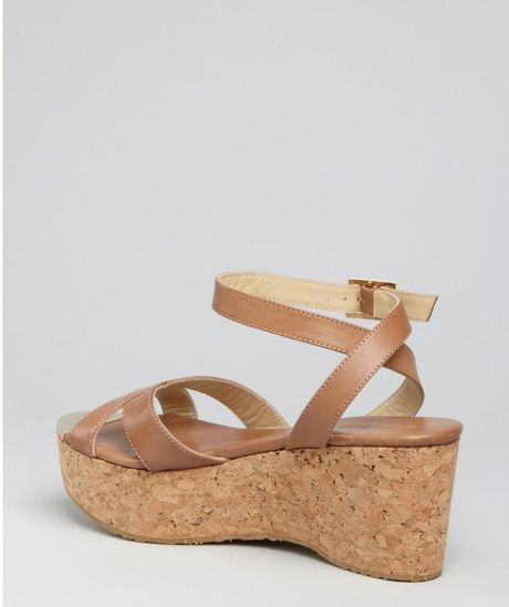 jimmy choo safari brown leather panther cork wedge sandals