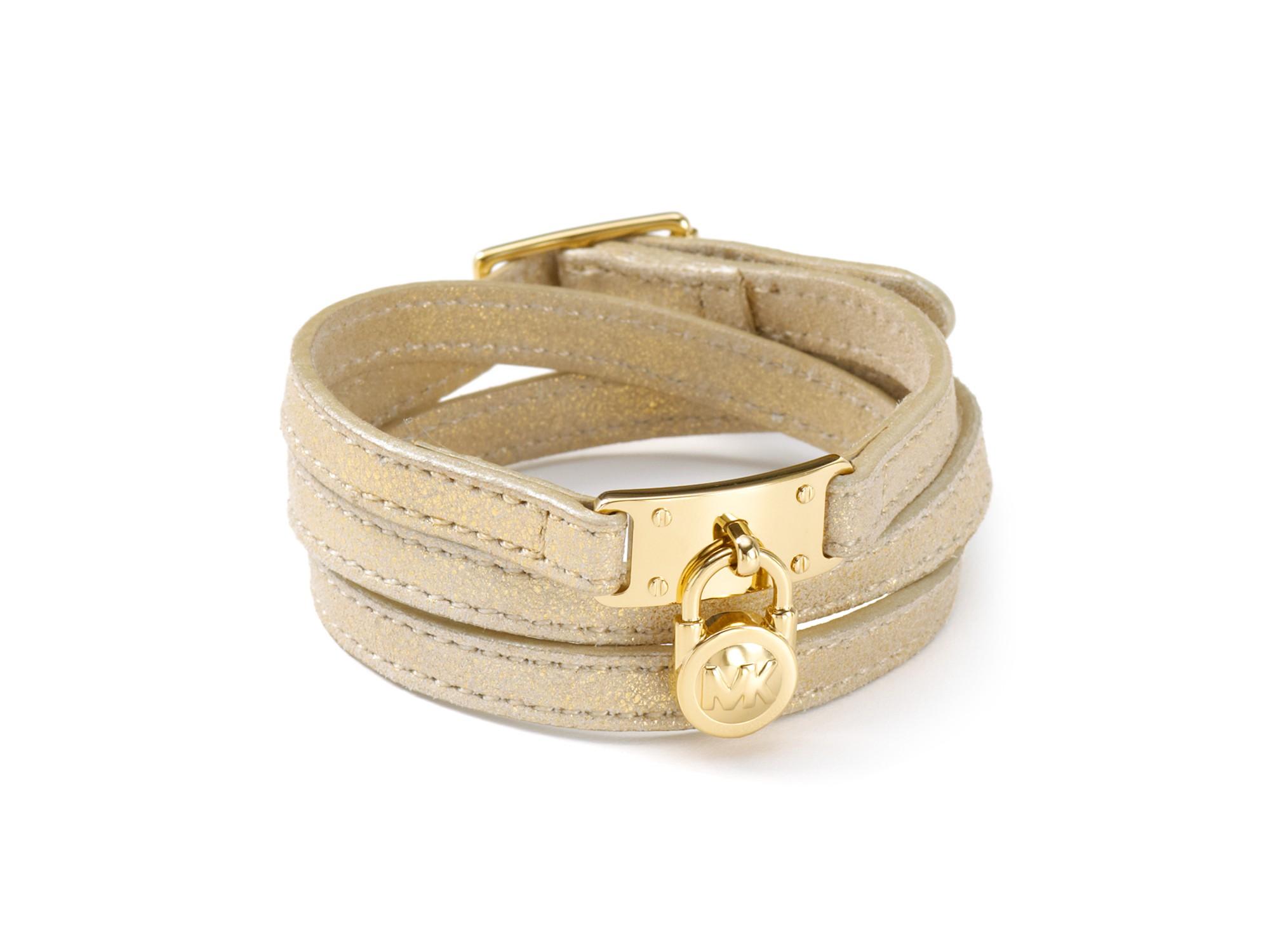 michael kors michael mk leather wrap bracelet in gold lyst. Black Bedroom Furniture Sets. Home Design Ideas
