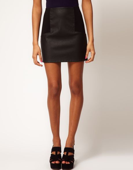 asos mini skirt in leather look with ponte panelling in