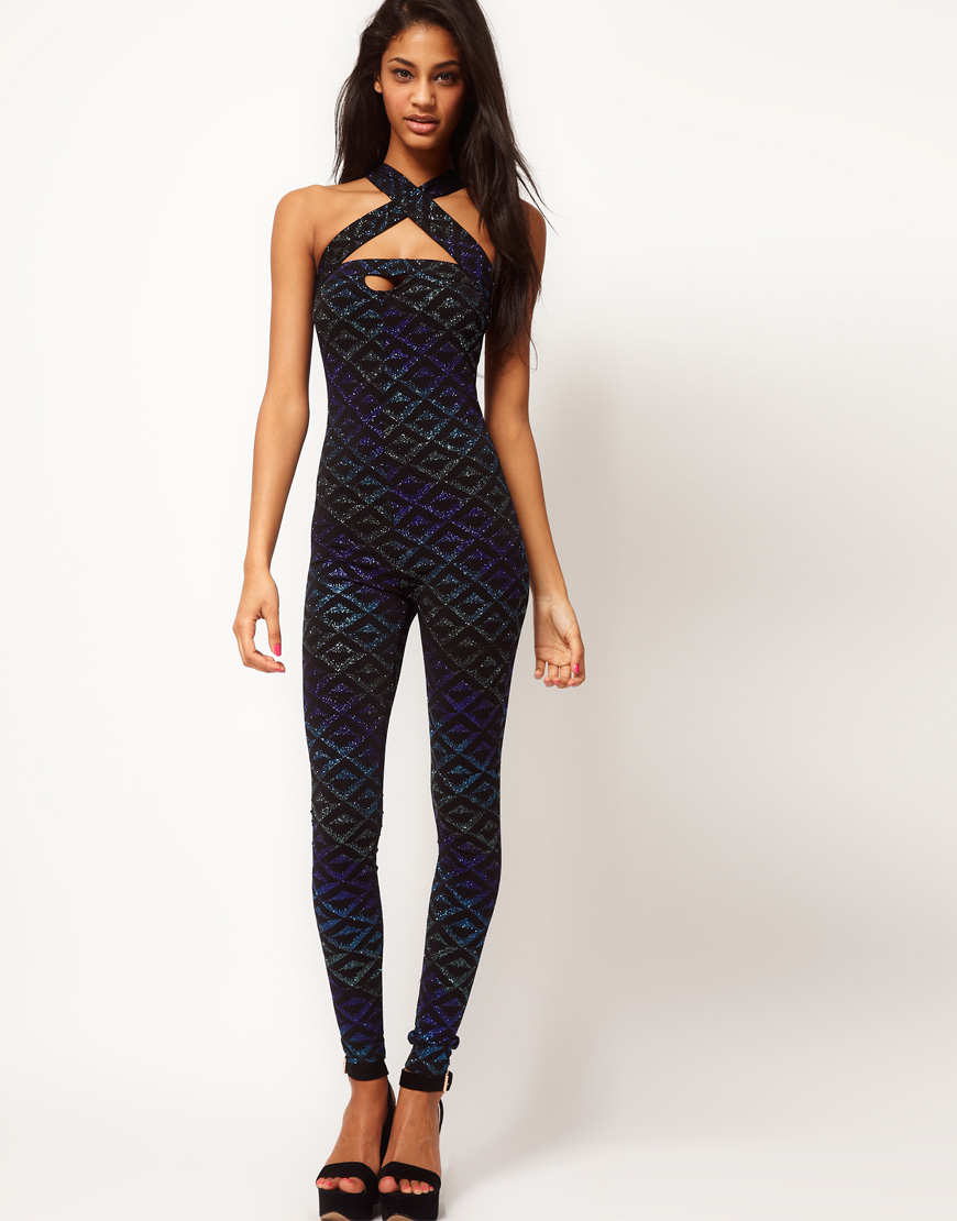 ASOS Collection Asos Unitard in Ombre Glitter Aztec in ...