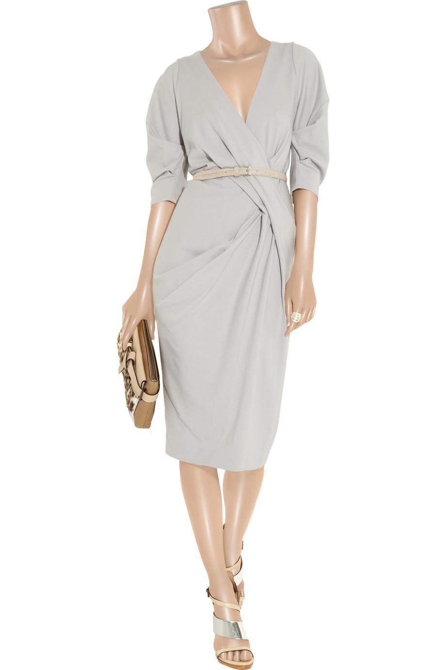 Donna Karan Belted Stretch Wool Blend Dress In Gray Lyst