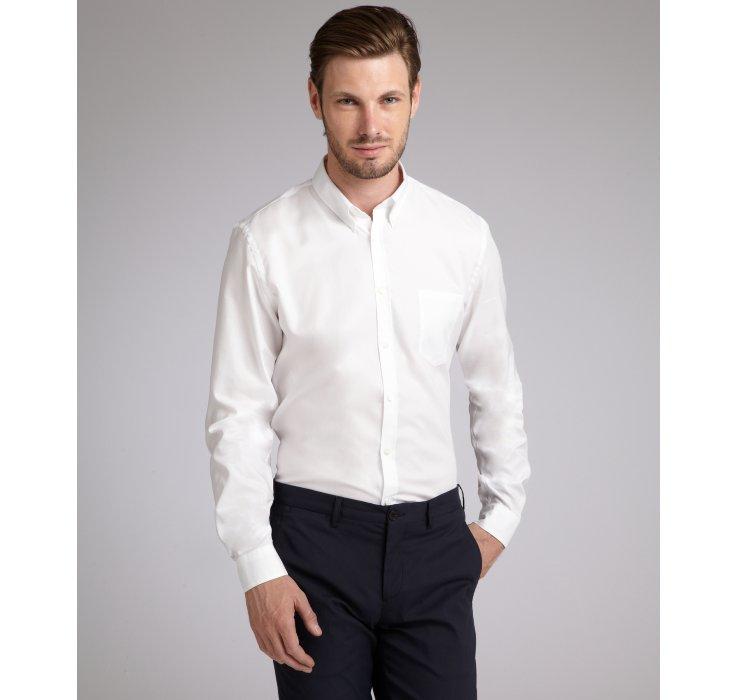 Prada White Oxford Cotton Button Down Dress Shirt in White for Men ...
