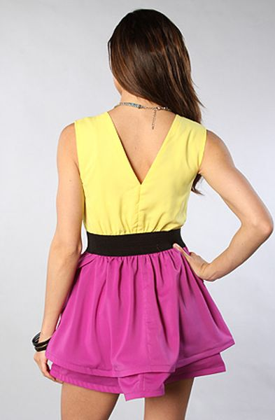 Reverse The Color Block Dress In Yellow And Purple In