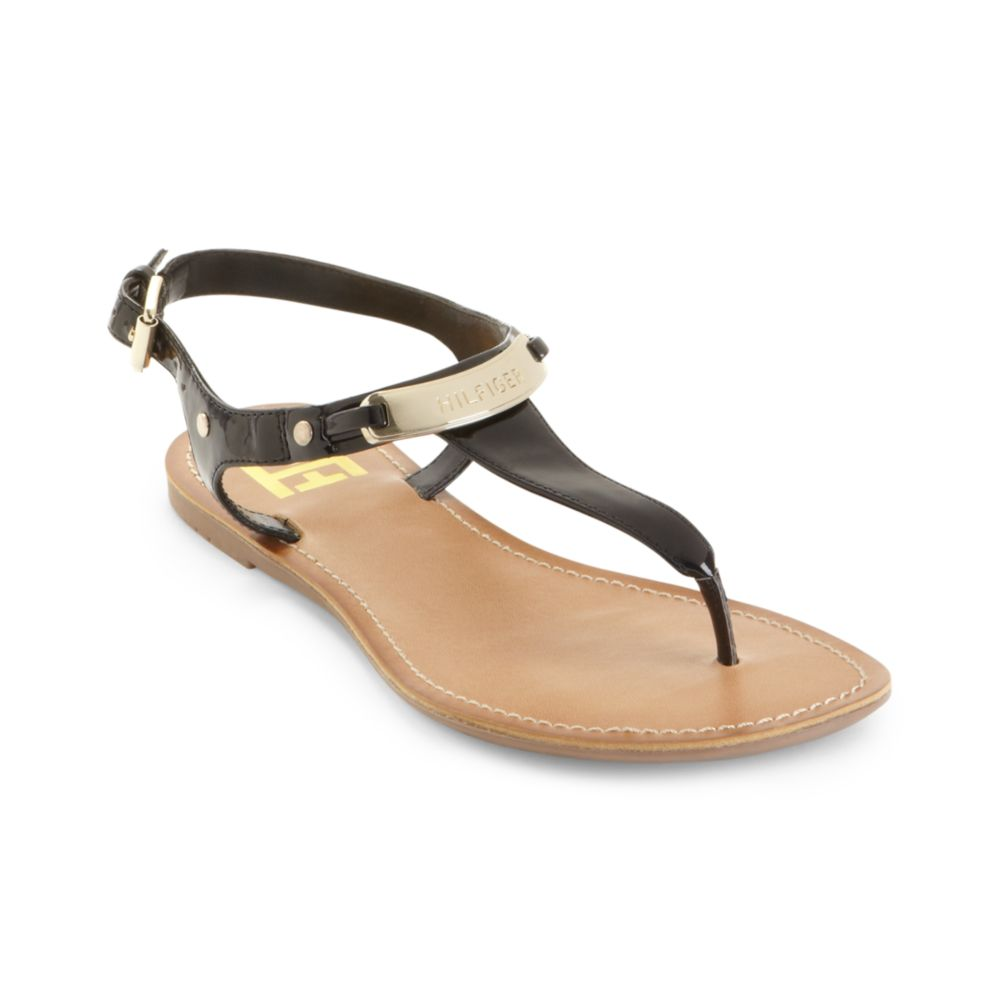 1c966d56f2d4 Lyst - Tommy Hilfiger Loraine Thong Sandals in Black