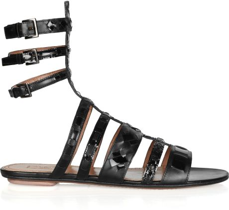 Ala 239 A Leather Gladiator Sandals In Black Lyst